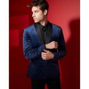 GUESS MEN: raffi velvet blue blazer